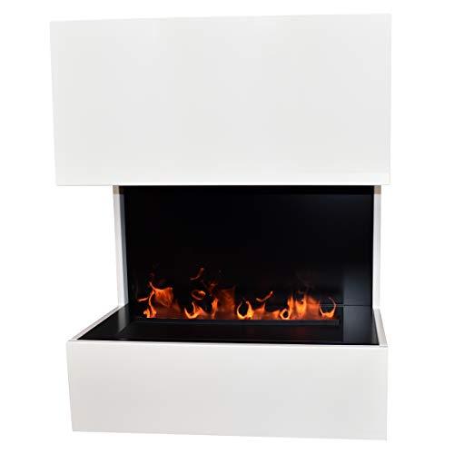GLOW FIRE Kästner Elektrokamin Opti Myst Cassette 500, 3D Wasserdampf Feuer, elektrischer Standkamin mit Fernbedienung | Regelbarer Flammeneffekt, 70 cm, Weiß