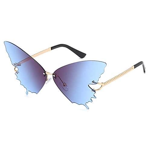 DAIDAICDK Gafas de Sol con Montura Grande de Metal gradiente sin Montura Gafas UV400 Gafas de Viaje para Exteriores Accesorios para Coche