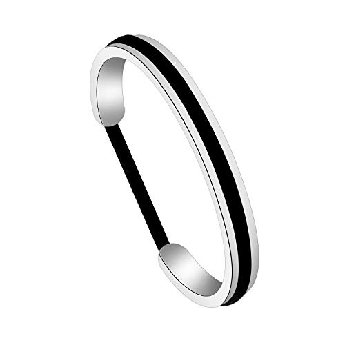 Zuo Bao Handstamped Inspirational Message Hair Tie Bracelet Stainless Steel Grooved Cuff Bangle for Women Girls