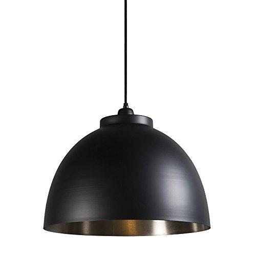 QAZQA industriële hanglamp/kroonluchter/verlichting/verlichting hoodi zwart nikkel metaal zwart rond/binnen/woonkamer/keuken