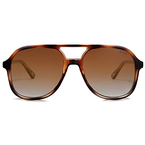 SOJOS Classic Vintage Polarized Aviator Sunglasses Retro Double Bridge Sun Glasses SJ2174, Brown Tortoise/Brown