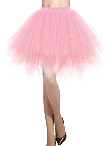 DRESSTELLS Tüllrock Damen Pink Tüllrock 50er Rockabilly Petticoat Tutu Unterrock Kurz Ballett Tanzkleid Ballkleid Abendkleid Gelegenheit Zubehör Light Coral S