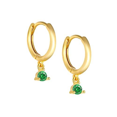 Pendientes de plata de ley 925 para mujer, pendiente de aro de circonita de color, joyería de oro, Piercing de oreja, regalo para mamá