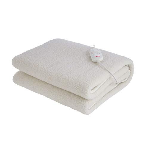Heizdecke Bimar SCL11A Wärme Unterbett mit waschbarem Bezug aus Kunstwolle Einzelbett Wärmedecke 150x80 cm mit 3 Temperaturstufen und abnehmbarem Schalter Leistungsabnahme max 60W