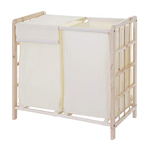 Mendler Wäschesammler HWC-B60, Laundry Wäschesortierer Wäschebox Wäschekorb Wäschebehälter, Tanne 2 Fächer 60x60x33cm 68l
