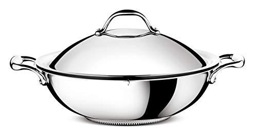 Lagostina ACCADEMIA LAGOFUSION 011116041836 - Wok 36 cm (6,9 L) + coperchio in acciaio inox 18/10, adatto a tutti i fornelli compresi quelli a induzione, manico rivettato robusto Italia
