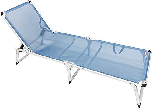 QPM Tumbona de Aluminio Techo corredizo Cama de Playa de Tres Patas 200x70 cm Carga máxima 150 kg, Azul Claro, sin Techo