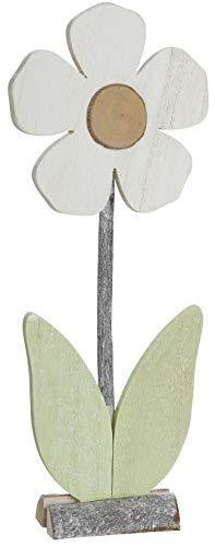 dekojohnson Deko-Blume Holzblume auf Holzsockel Standdeko Fensterbankdeko zum Stellen Osterdeko Zimmerdeko Frühlingsdeko grün weiß 12x7x30cm