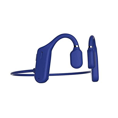 QNZ Auriculares de conducción ósea con micrófono Bluetooth, Oreja Abierta Auriculares inalámbricos Auriculares no intrauditivos Resistente al Sudor Impermeable para Correr Deporte Fitness, Azul