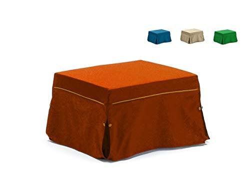 Am Group Home Pouf Letto Singolo con Materasso Waterfoam Alto 5 cm - Bin - Salvaspazio Pieghevole per Camera, Cameretta o Soggiorno, Puff Poggiapiedi, Tessuto Sfoderabile (Arancio)