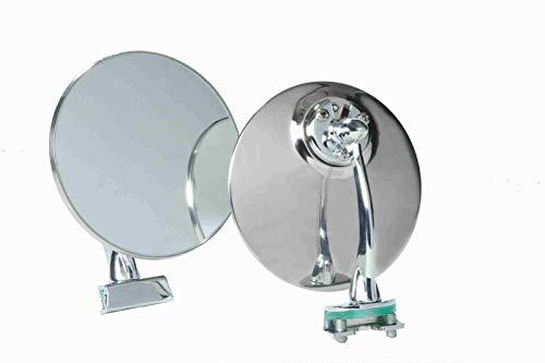 Specchio retrovisore laterale DX SX tondo cromato con morsetto per auto classiche universale