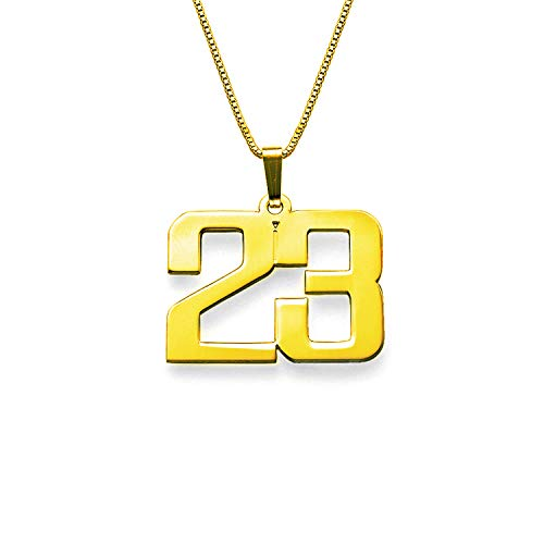 LAOFU Customized Jewelry for Men - Personalized Charm Number Necklace - Gift for Him/Her(Gold)