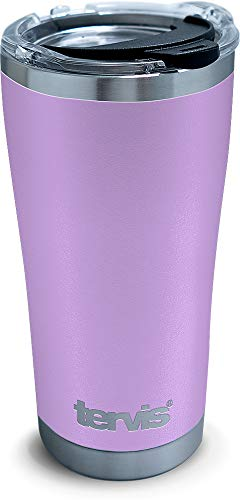 Tervis Powder Coated Stainless Steel Insulated Tumbler with Clear and Black Hammer Lid, 20 oz, Lilac