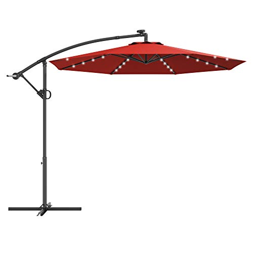 Tangkula 10 FT Patio Offset Umbrella with 360 Degree Rotation, Solar Powered LED Umbrella with Crank Handle & Cross Base, Outdoor Market Umbrella with Aluminum Pole (Burgundy)