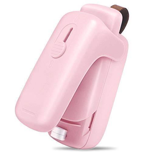 XIMU Folienschweißgerät Mini, Mini Bag Sealer mit Cutter, 2 in 1 Küche Hand Verschlussgerät für Beutel Spänesäcke Plastiktüten Lebensmittellagerung Snack Fresh Bag Sealer (Batterie inklusive) (Rosa)