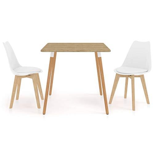 vidaXL Essgruppe 3-TLG. Esszimmergarnitur Esszimmergruppe Tischset Esstischset Sitzgruppe Esszimmertisch Esstisch Küchentisch mit 2 Stühlen Weiß