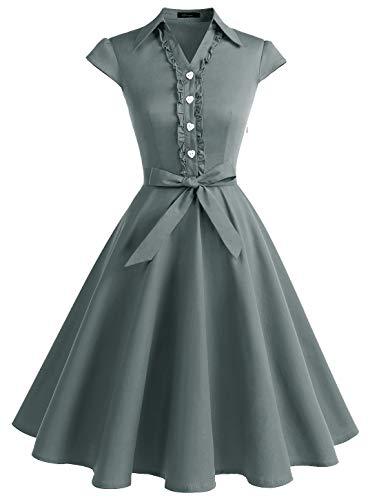 WedTrend Damen 50er Vintage Retro Rockabilly Swing Kleid Kurzer Ärmel Cocktailkleider WTP10007Grey3XL