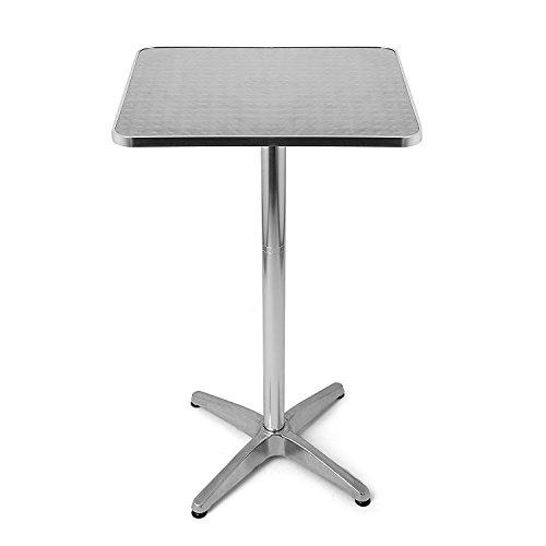BAKAJI Tavolino in Alluminio per Esterno 60 x 60 cm con Altezza Regolabile 70/110 cm Tavolo Bistrot Ripiano Top in Acciaio Inox Quadrato per Bar Casa Giardino Ristorante Silver