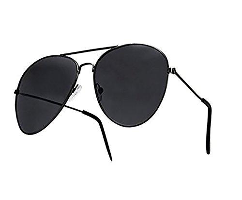 4sold - Gafas de sol tipo aviador, diseño años 70, unisex, montura metálica y cristales de espejo, protección contra rayos UV 400 - Talla única, hombre mujer Infantil, aviator black, universal