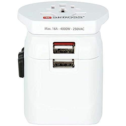 SKROSS 1302550 Pro Light USB World 3 Pol Weltreiseadapter mit Patentiertem Länderschiebersystem, 2400 mA, Shared, Weiß