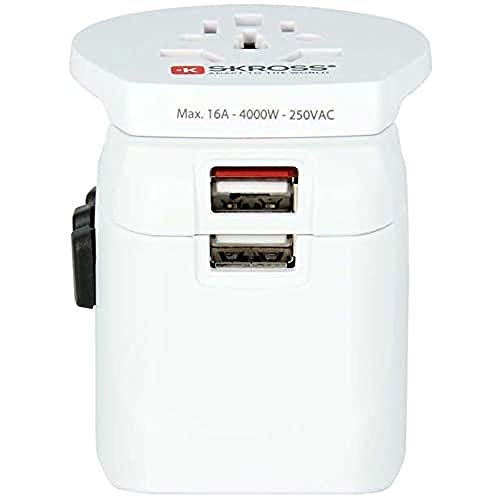 Skross PRO Light USB Universal Universal Color blanco adaptador de enchufe eléctrico - Adaptador para enchufe (58 mm, 70 mm, 67 mm, 167 g, 150 mm, 150 mm)