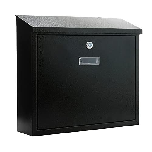 PrimeMatik - Cassetta delle Lettere Casella Postale e Posta Metallico di Colore Nero da Parete 350x90x320mm