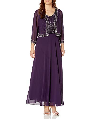J Kara Women's Beaded Jacket Dress, Purple, 18