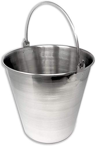 Edu-Labs Lab Bucket Stainless Steel Perfect for Medical, Laboratory and Veterinary Applications (12 QT)