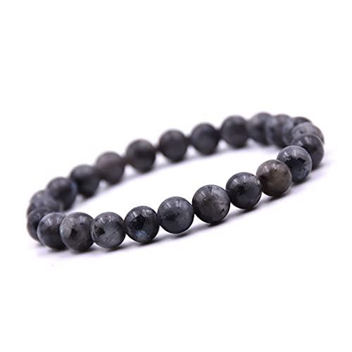 Unique Pulsera de Perlas Piedras Preciosas Labradorita negra 8mm Pulsera piedras curativas energía Chakra Buda Calidad de Joyero