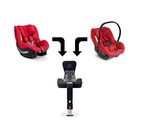Avionaut Trio | set modular de 3 piezas | Silla infantil para coche Pixel (0-13kg, 40cm-86cm), silla infantil línea AeroFIX Soft (9kg-17.5kg, 67cm-105cm), Base IQ (base ISOFIX) | Rojo
