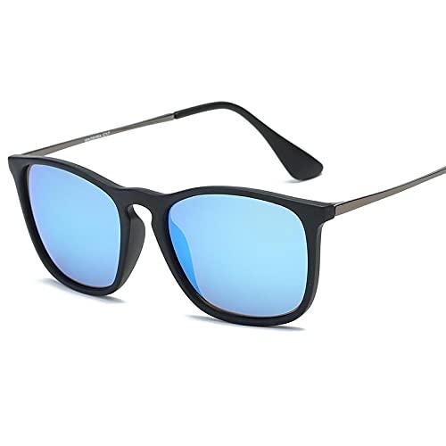 XINMAN Gafas De Sol Polarizadas Ultraligeras Gafas De Sol De Sombra Retro De Moda Gafas De Sol A Prueba De Viento para Deportes Al Aire Libre C2 Película Azul Hielo Negro Mate