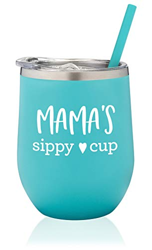 SassyCups Mama's Sippy Cup Wine Tumbler | Stainless Steel Stemless Wine Glass Tumbler with Lid and Straw For New Mom | Mama Tumbler | Mom to Be Cup | Soon to Be Mom | Mommy Again (12 Ounce, Mint)