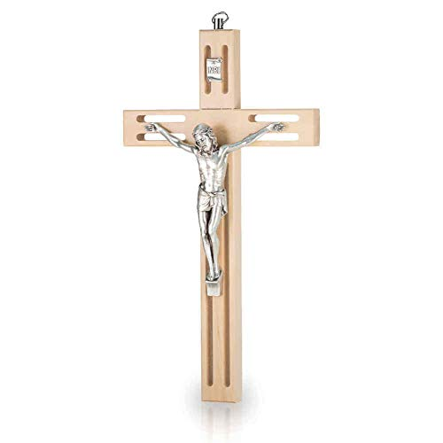 Wandkreuz Kruzifix modernes Design durchbrochen Holz Natur Christus Körper Metall Silber 25 cm Holzkreuz Schmuckkreuz