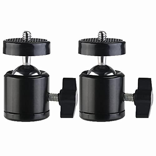 Mini Stativkopf Kugelkopf, 2 Stücke Mini Kugelkopf Metall, Drehbarer Mini-Kugelkopf mit 1/4' Gewindebohrung, Geeignet für SLR-Kameras, Camcorder, Lichtstative, Einbeinstative, Stative