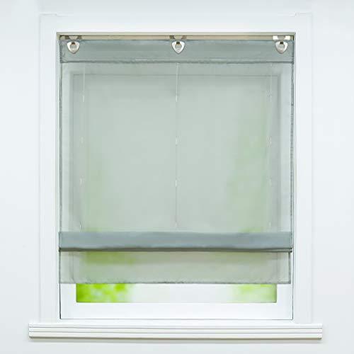 Joyswahl – Estor de voile con gancho para colgar, sin agujeros «Hanna» para ventana, cortinas de colores lisos, 1 unidad, poliéster, gris, BxH 60x130cm
