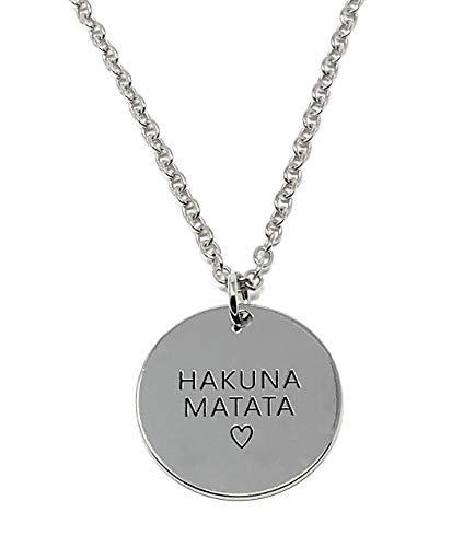 Cadoline Silberton 'Hakuna Matata' Gravierter Anhänger Halskette 2.2cm Durchmesser Mit 18 Zoll Kette Der König Der Löwen