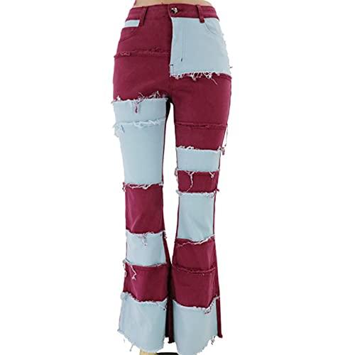 WXMSJN Pantalones De Mezclilla Acampanados Ajustados A La Cadera Ajustados De Cintura Alta Tendencia