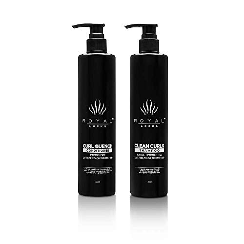 Royal Locks-Curl Cleansing Set | Clean Curls Shampoo & Curl Quench Conditioner-pH Balancing Shampoo & Conditoner with Argan Oil, For Wavy & Curly Hair, Sulfate & Paraben Free (10 Oz ea.) (Pack of 2)