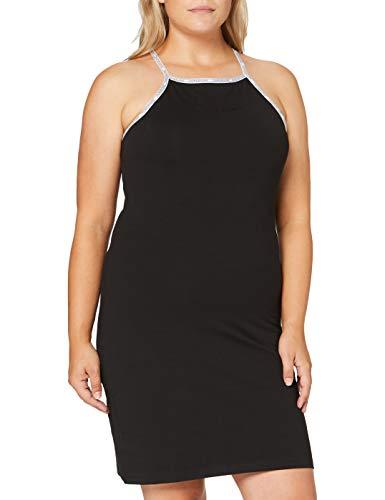 Calvin Klein Jeans Damen Logo Trim Tank Dress Kleid, Black, M