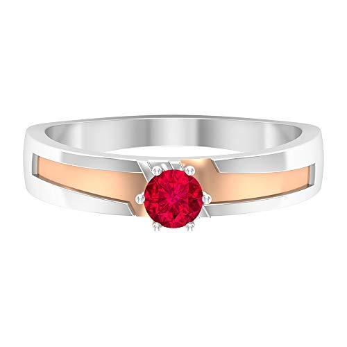 Anillo solitario de rubí de 0,34 quilates, oro de dos tonos, anillo de compromiso (rubí redondo de 4 mm), 14K Oro blanco, Size:EU 47