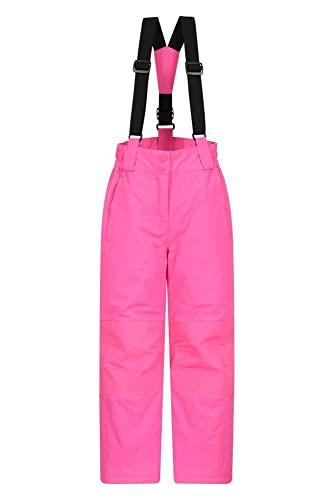 Mountain Warehouse Honey Kinder Schneehose - Schneedicht, Schneegamaschen, Schneeanzug mit Reißverschluss am Knöchel und abnehmbaren Träger, Winter leuchtendes Pink 5-6 Jahre