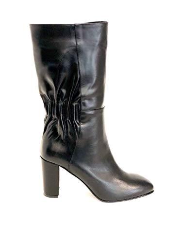 ALBANO 1164 - Stivale Donna Pelle Gambale Arricciato e Tacco 7 cm (36 - Vitello Nero)