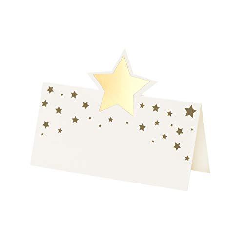 Talking Tables Decorazioni per feste di Natale-Segnaposti natalizi a forma di stella dorata, confezione da 16, STAR-PLACECARD-GLD