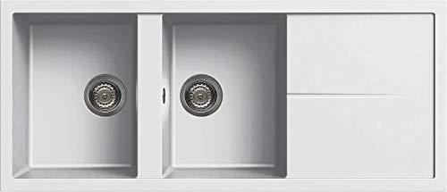 Lavello da cucina 2 Vasche, da 116 cm, Granitek, colore Bianco LGU50068 Unico 500