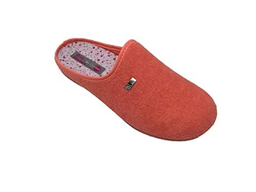 Zapatillas de estar por casa/Mujer/Biorelax/Apto plantilla ortopedica/Plantilla extraible/Empeine :Algodón Rizo/Coral/Talla 41