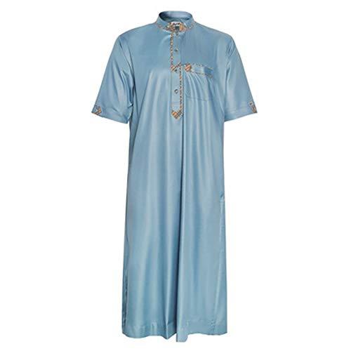 JXSM Camisa musulmana multicolor de color sólido con mangas y cuello alto para hombre musulmán (color : azul, tamaño: 54#)