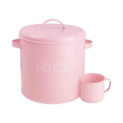 Contenedores de Almacenamiento de Arroz Placa de metal Cubo de arroz Cubo de harina Cubo de arroz Bucket Lindo rosa de almacenamiento Pote Utensilios de cocina Herramientas Contenedor de Almacenamient