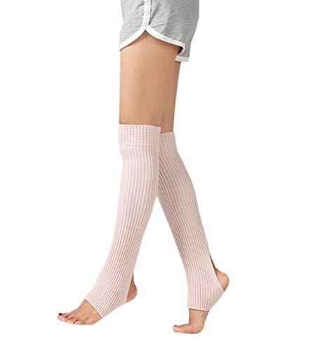 ACVIP Damen Mädchen Ballettstulpen mit Fersenloch Beinwärmer Ballett Stulpen Legwarmer(Nacktes Rosa)