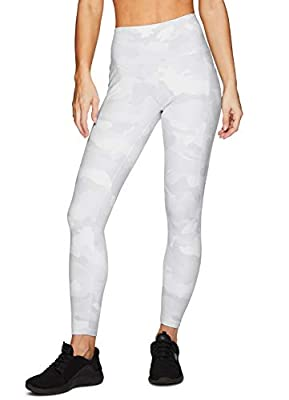 RBX Active Women's Super Soft Peached Camo Print Squat Proof Running Yoga 7/8 Legging with Pockets White Camo M