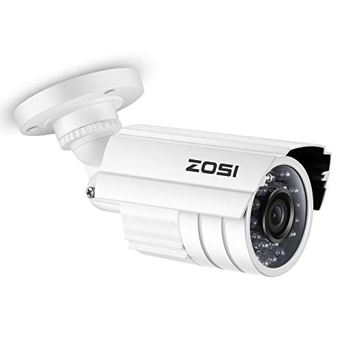 ZOSI 720P HD 1280TVL Hybrid 4-in-1 CCTV Camera 24PCS IR-LEDs Security Day/Night Weatherproof Bullet Surveillance Cameras for HD-TVI, AHD, CVI, and CVBS/960H Analog DVR (White) (Renewed)